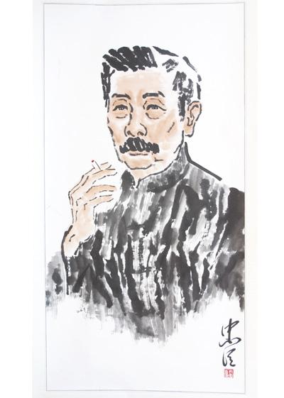 用中国画技法表现名人肖像的思考图片